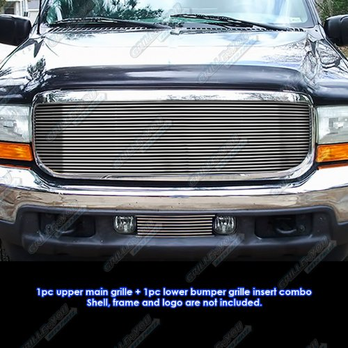 (APS Compatible with 1999-2004 Ford F-250/F-350 Super Duty/Excursion Billet Grille Grill Combo Insert)
