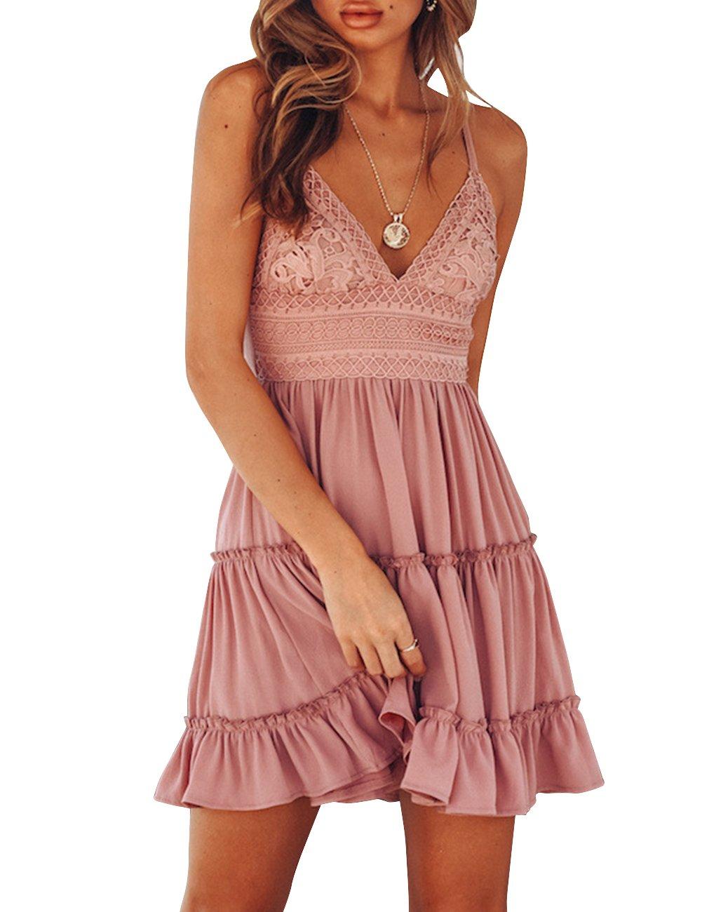 2afe8a32f35 Amazon.com  Sanifer Women s Sexy Backless A-line Mini Dress Summer Beach  Sundress Party Dress (L