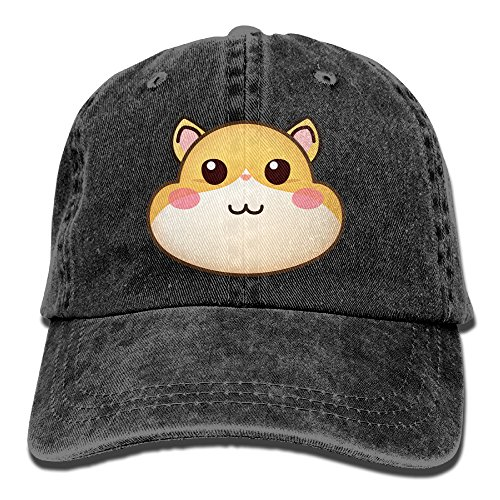 Box Treat Hamster (Uanqunan Hamster Face Emoji Unisex Cotton Denim Baseball Cap Adjustable Strap Low Profile Plain Hats Black)