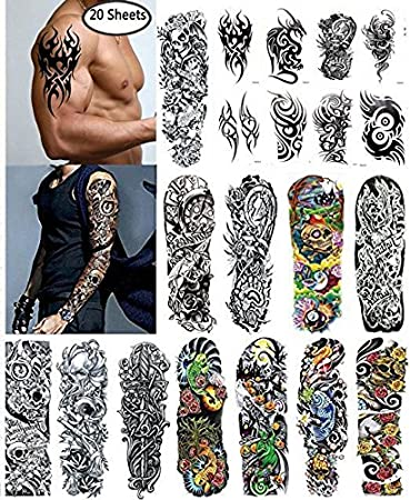 b0342e5b2ef2 Nutrition Bizz Extra Large Temporary Tattoos Full Half Arm Tattoo Sleeves 20  Sheets for Men Women