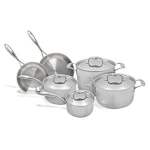 Tuxton Home THBCV10-SS-G Duratux Triply Cookware Set, 10-Piece, Silver