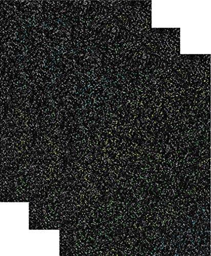 Siser Glitter Heat Transfer Vinyl HTV for T-Shirts 10 by 12 Inches (1 Foot) 3 Precut Sheets (Galaxy Black)