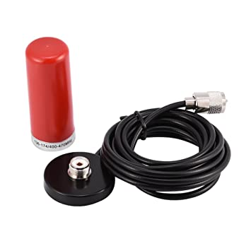 Antena De Radio Móvil De Vehículo De Banda Dual VHF/UHF con Cable De Base De Montaje Magnético para Radio Bidireccional De Coche Walkie-Talkie(Rojo)