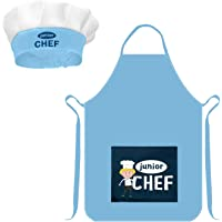 Kids Chef Apron Play Kitchen Apron for Boys Girls, Adjustable Kids Aprons and Chef Hat for Cooking Baking (M / 6-12…