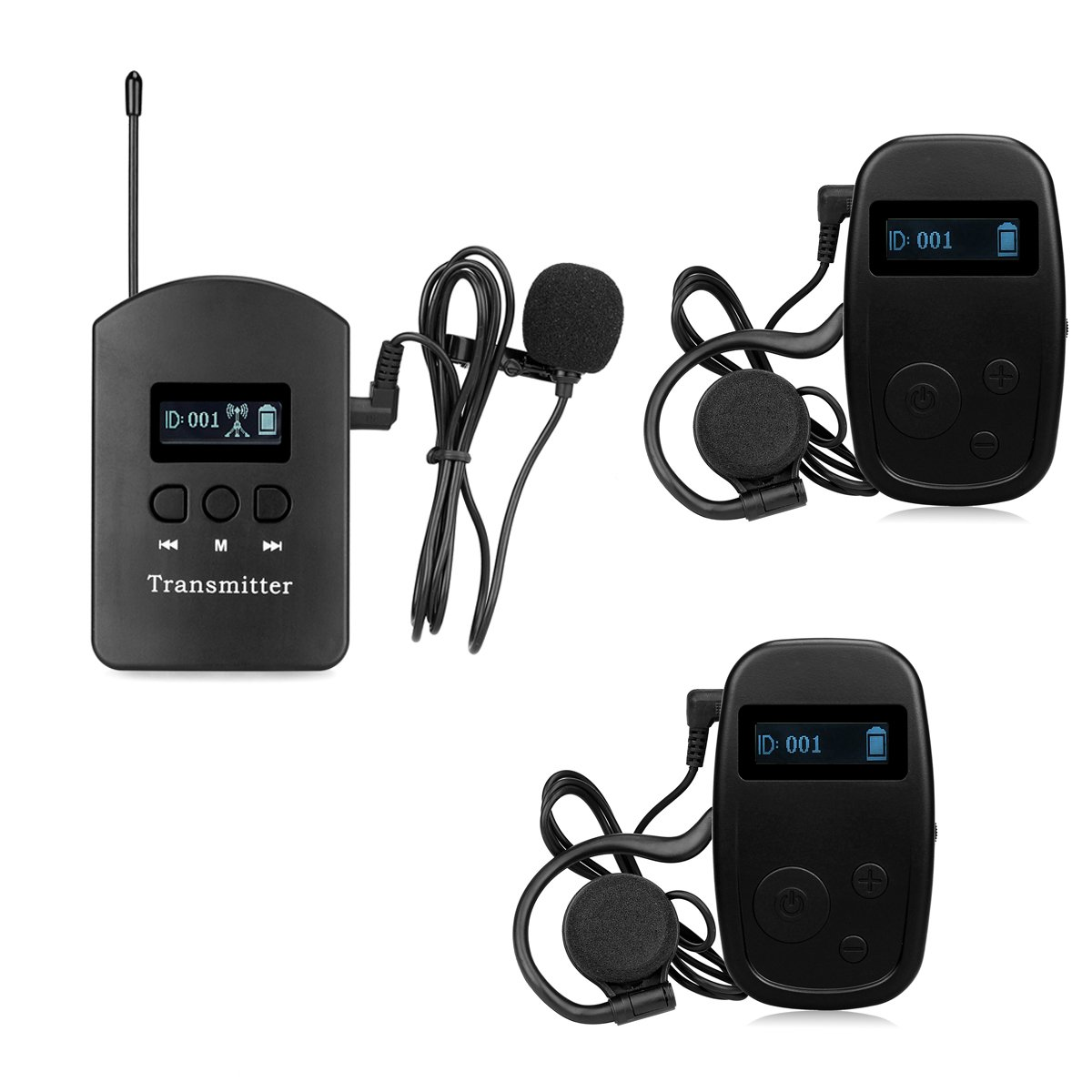 Retekess ATG-3802 Professional Wireless Tour Guide System Simultaneous Interpretation System for Church Listening Teaching Traveling Museum Conference Interpretation(1 Transmitter and 2 Receivers)