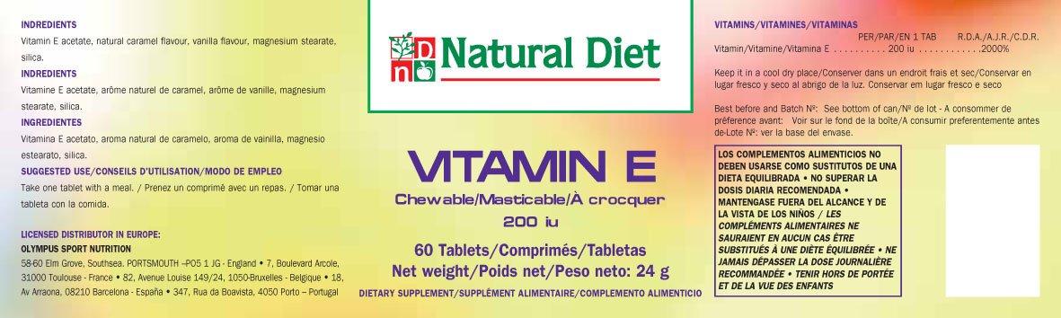 Vitamina E - Tamaño - 60 Comps. 200Iu (Masticables): Amazon.es: Salud y cuidado personal