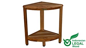 EcoDecors Oasis 2-Tier Teak Corner Shelf, Natural