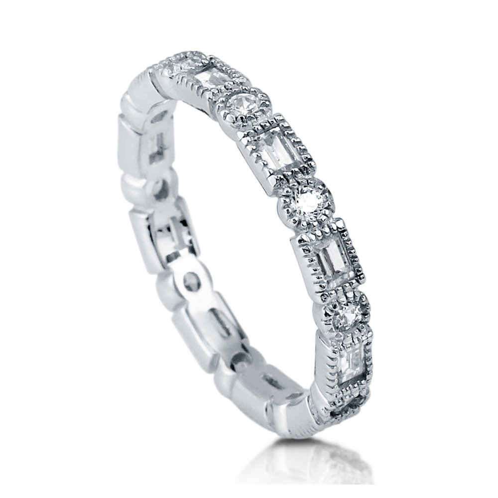 BERRICLE Rhodium Plated Sterling Silver Cubic Zirconia CZ Art Deco Eternity Band Ring Size 8