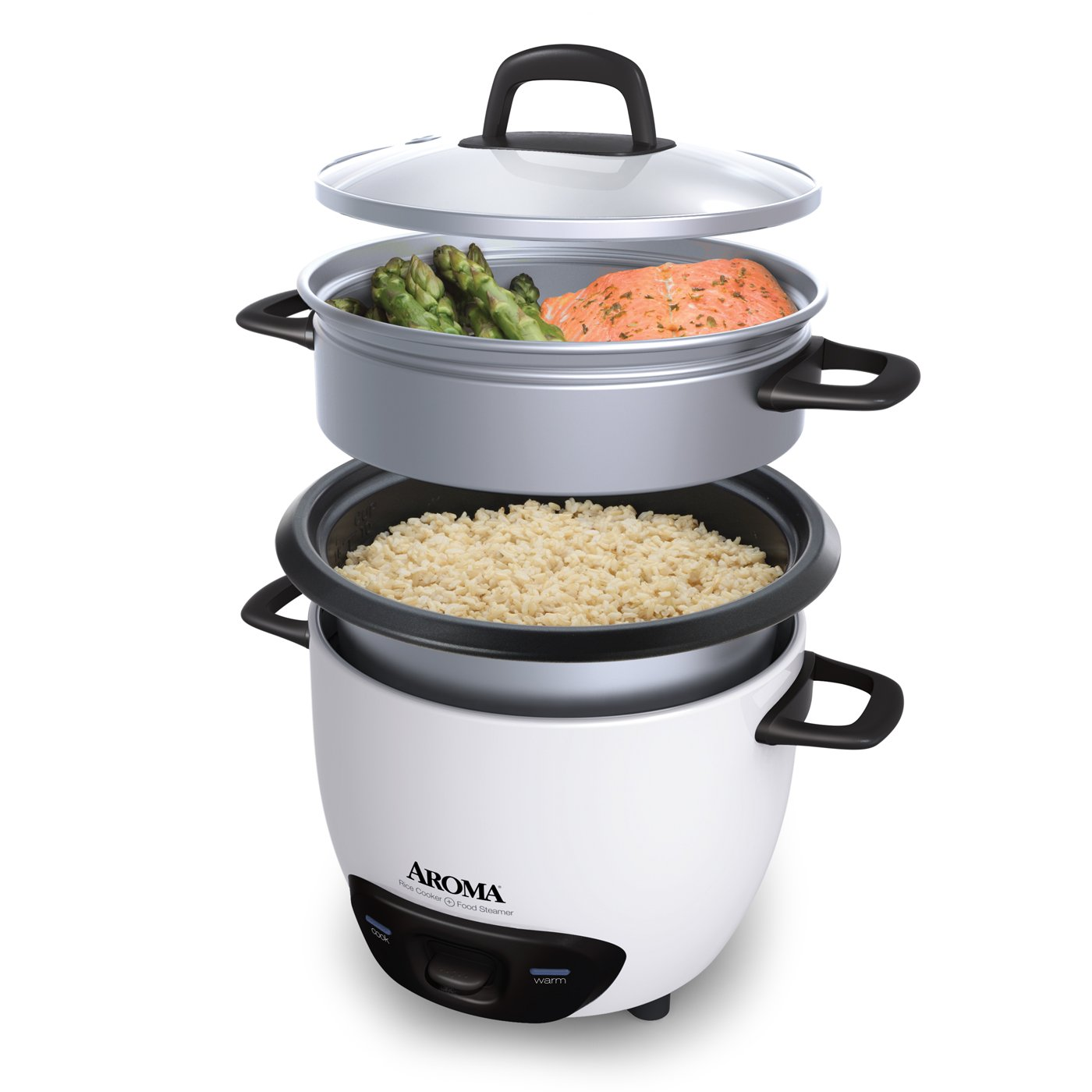 Aroma Housewares 6-Cup (Cooked)  (3-Cup UNCOOKED) Pot Style Rice Cooker and Food Steamer (ARC-743-1NG) by Aroma Housewares (Image #2)