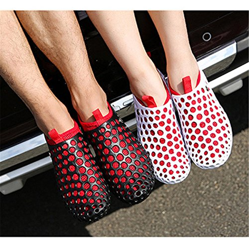 Breathable Wearing Slip Soft Two Non Way Sandals Slip Women Light Lightweight On Gracosy Beach Red Shoes Mesh White F0qOSPxw