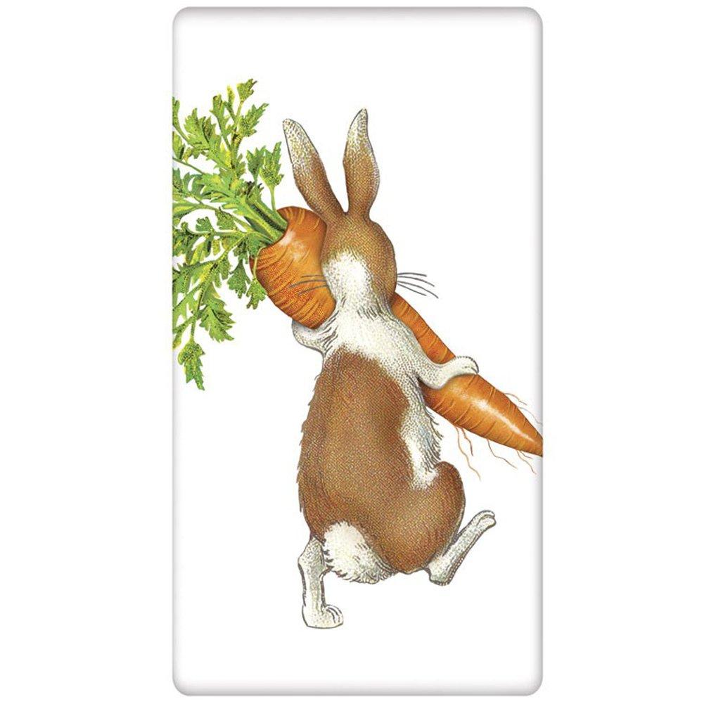 """Carrot Rabbit Easter Flour Sack Cotton Kitchen Dish Towel - 30"""" x 30"""" Mary Lake Thompson design"""