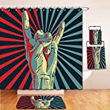 LiczHome Bath Suit: Showercurtain Bathrug Bathtowel Handtowel Music Decor Tapestry Hand in Heavy Metal Rocker Sign Musical Universal Gesturing Lightning Bolts Party People Decor Multicolor