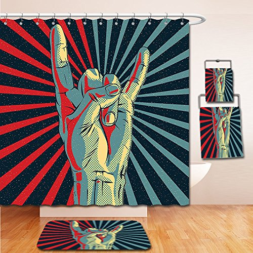 LiczHome Bath Suit: Showercurtain Bathrug Bathtowel Handtowel Music Decor Tapestry Hand in Heavy Metal Rocker Sign Musical Universal Gesturing Lightning Bolts Party People Decor - Outlet Ny Macys