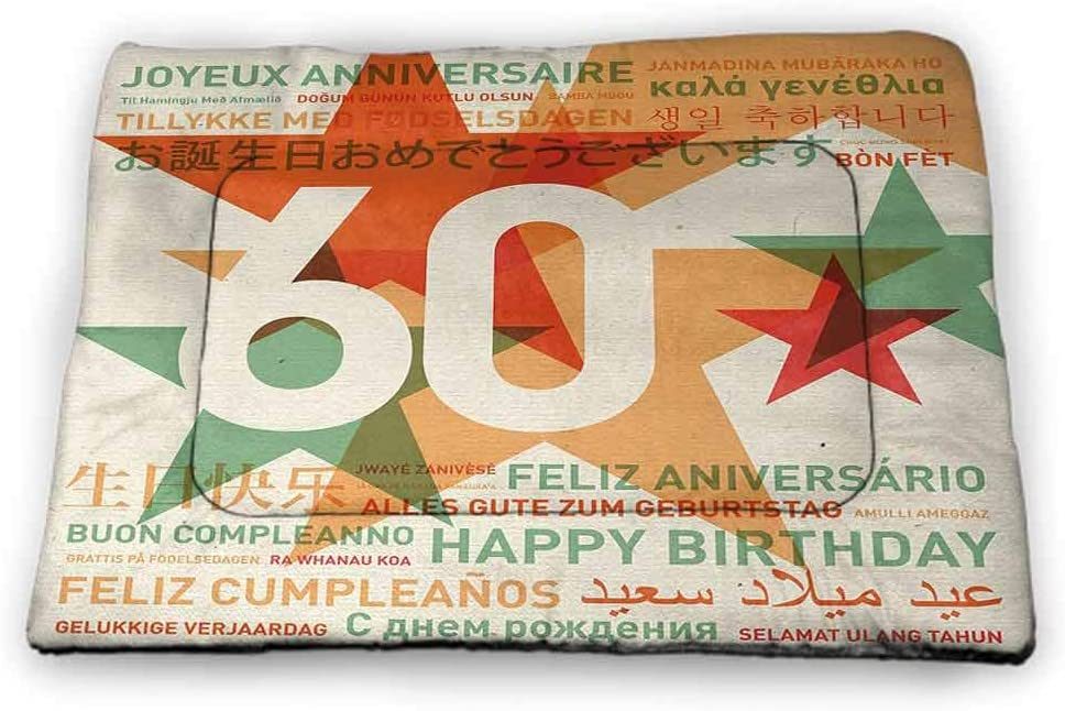 Nomorer Extra Large Dog Beds 60th Birthday for Food and Water World Cities Birthday Party Theme with Abstract Stars Print 46