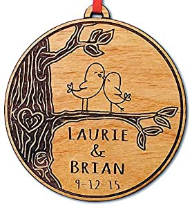 Newlywed Christmas Ornament Lovebirds Personalized Heart Tree Trunk Design Mr Mrs Wedding Date Name Engraved Couples Our First Christmas Gift for Him Her Engagement Together (Simple)