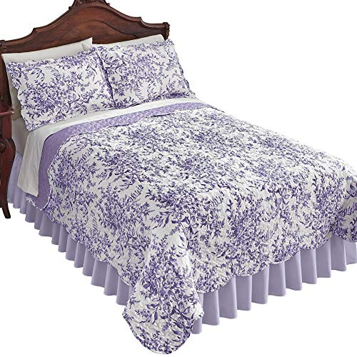Leafy Floral Garden Reversible Quilt - Country Cottage Chic Design, Lavender, King (Lavender Set Quilt)