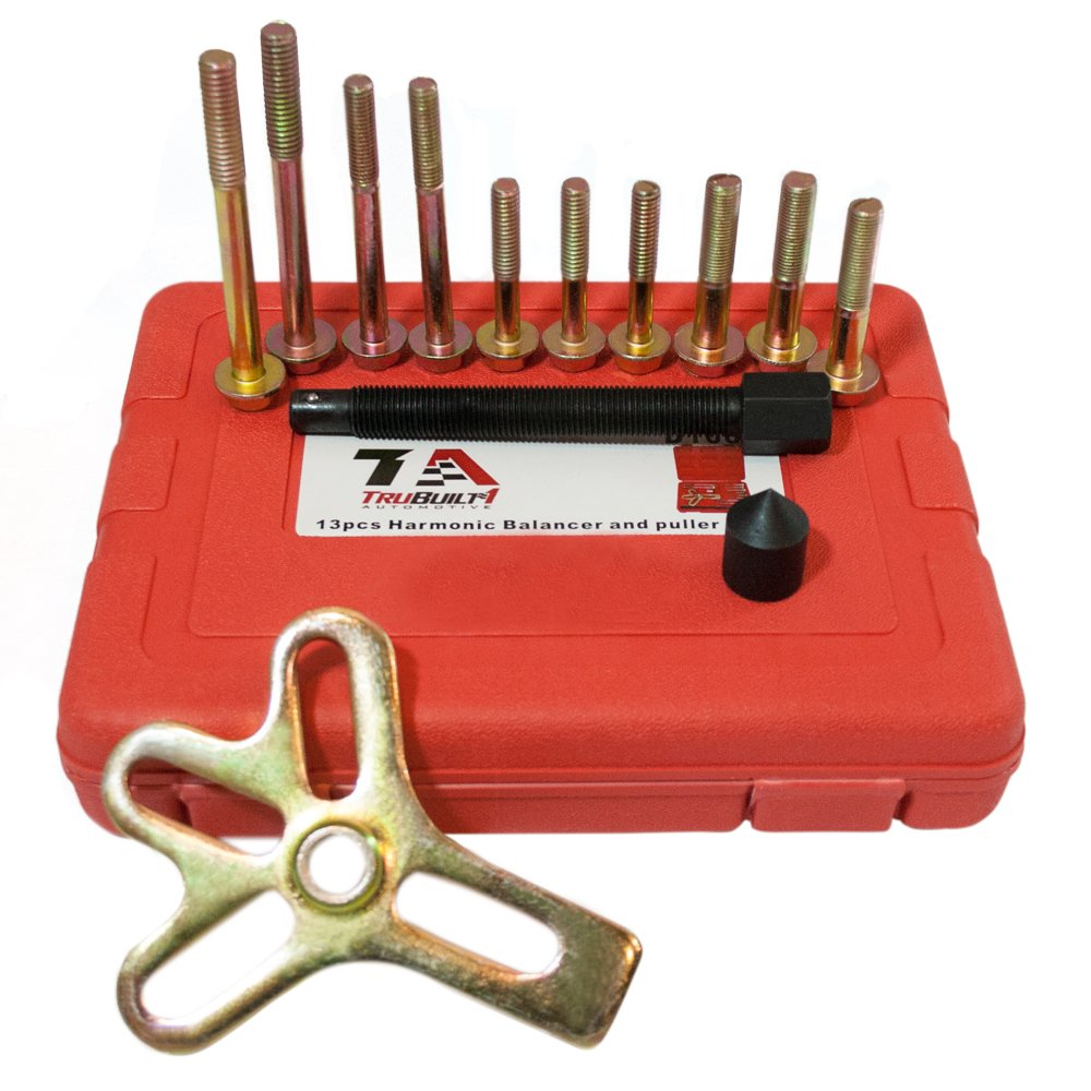 TruBuilt 1 Automotive Universal Harmonic Balancer with Carrying Case T1A-D1007 Pulley Damper and Gear Puller Tool Set 13 Pieces