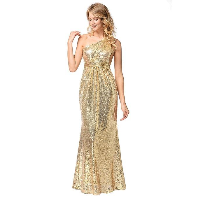 ad506d737 antaina Lentejuelas Brillo Oro Solo Hombro Coctel Largo Maxi Vestido de  Noche Las Mujeres  Amazon.es  Ropa y accesorios