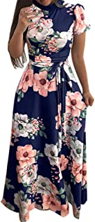 Women's Summer Floral Printed Maxi Dress Short Sleeve Casual Swing Maxi Long Maxi Dress with Belt