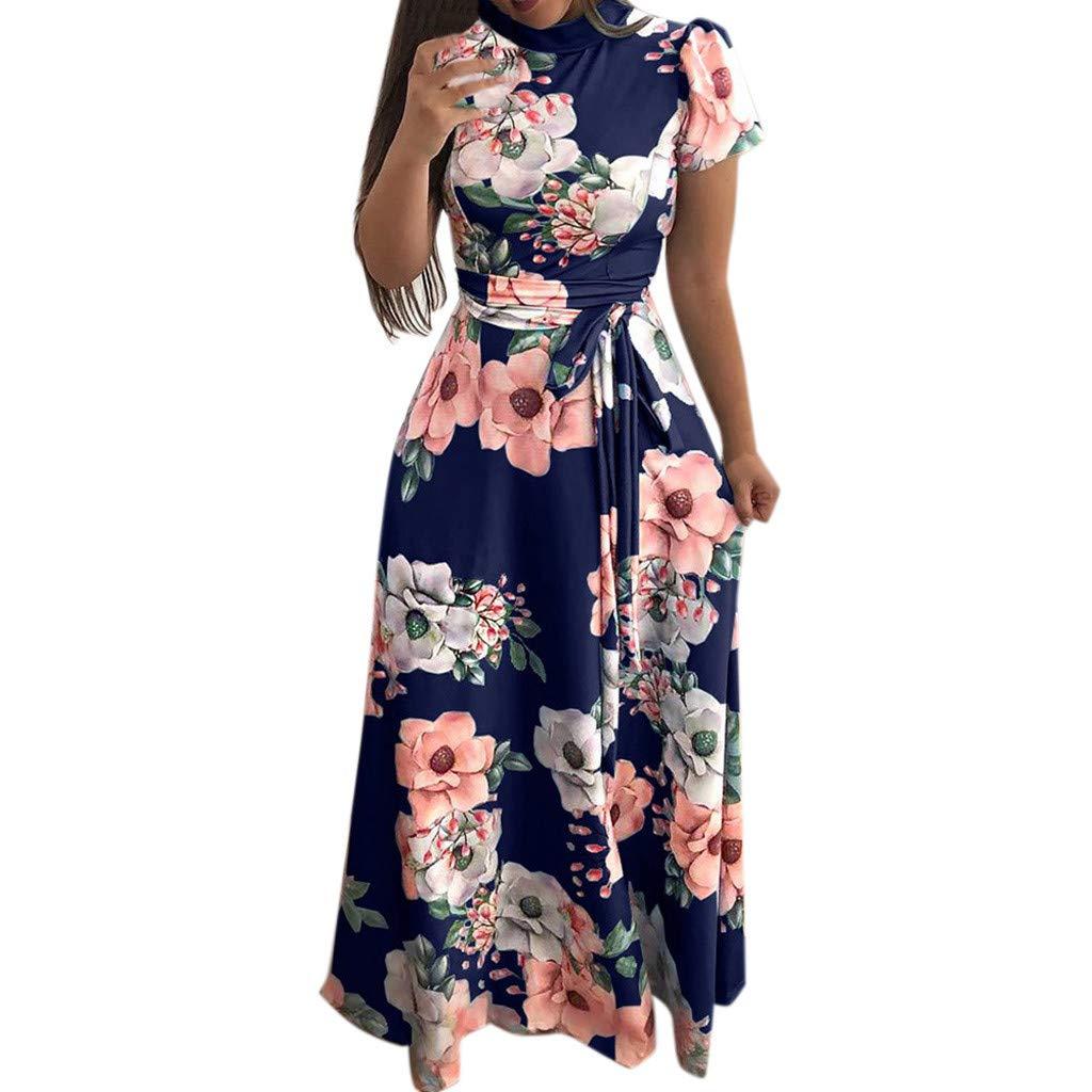 Women Dresses, Women's Casual Dress Fashion Women O-Neck Floral Printed Short Sleeve Bandage Long Dress (Blue B, Small)