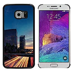 LECELL--Funda protectora / Cubierta / Piel For Samsung Galaxy S6 EDGE SM-G925 -- Traffic Lights Time Evening Night Road --