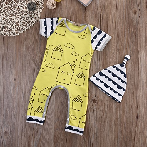 Newborn Baby Boy Girls House Printing Romper Striped Jumpsuit Hat Outfits Set (12-18 Months, Yellow)