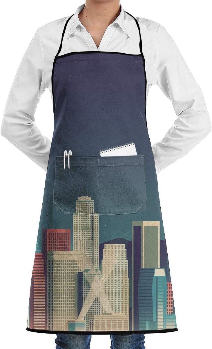 Pag Crane Kitchen Chef Delantal con Peto City Image Cuello Cintura Tie Centro Bolsillo Impermeable