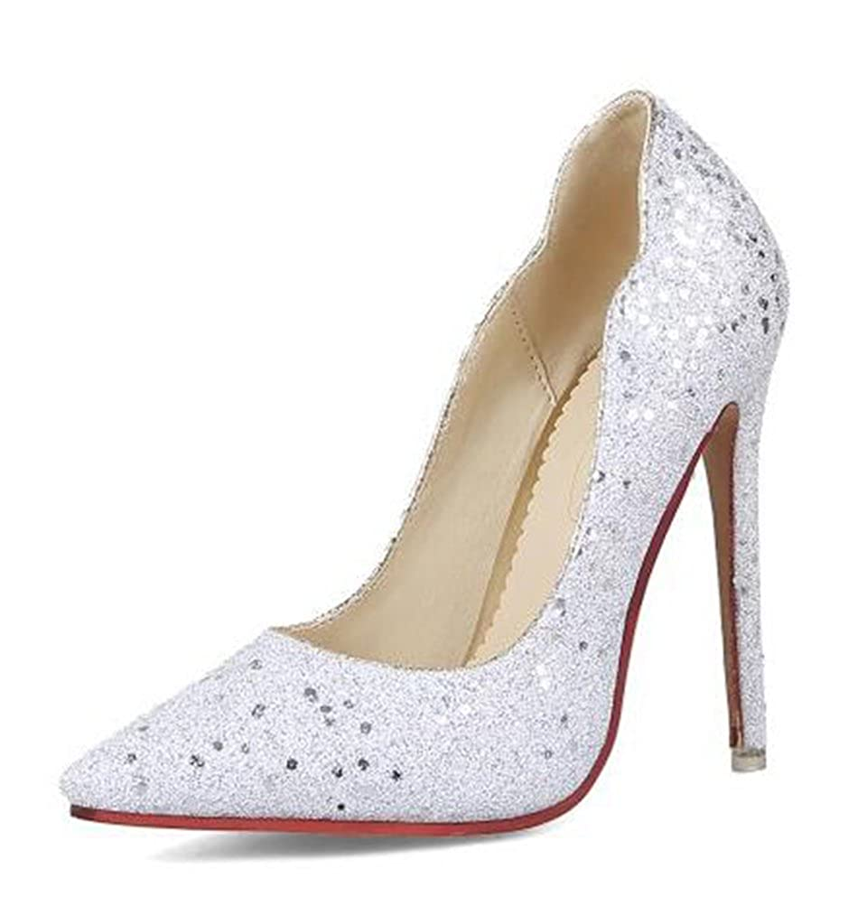 Easemax Damen Modisch Spitze Low Cut Slipper Pailetten High Heels Pumps mit Stilettos