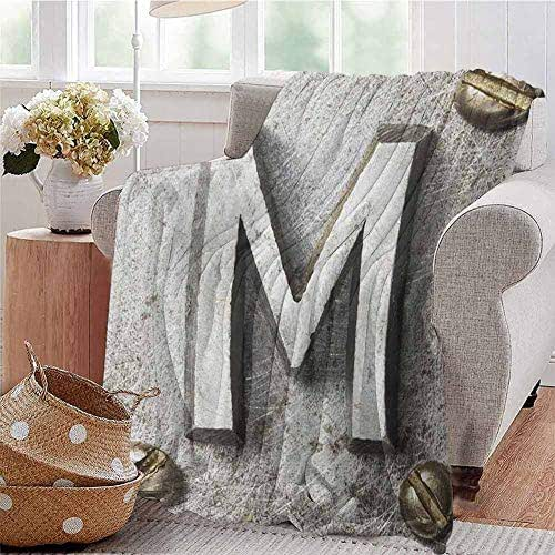 Luoiaax Letter M Comfortable Large Blanket Zinc Iron Steel Alphabet Typeset with Grunge Scratched Texture Industrial Image Microfiber Blanket Bed Sofa or Travel W70 x L70 Inch Silver Gold