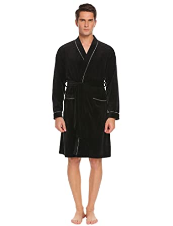 Goldenfox Kimono Robes for Men Cotton Robe Lightweight Bathrobe Flannel  Robes Black 532d05c78