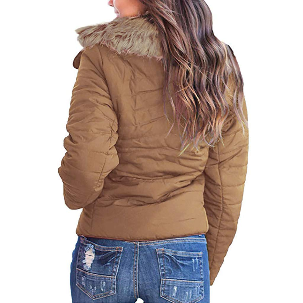 Respctful✿ Womens Thick Winter Coat Quilted Puffer Jacket Short Bomber Jacket Coat Winter Hooded Light Windbreaker