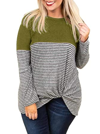 a5707e2f18 YSkkt Womens Tops Plus Size Long Sleeve T Shirts Twist Knot Front Striped  Color Block Tshirts Loose Casual Fall Tee T-Shirt at Amazon Women's  Clothing store ...