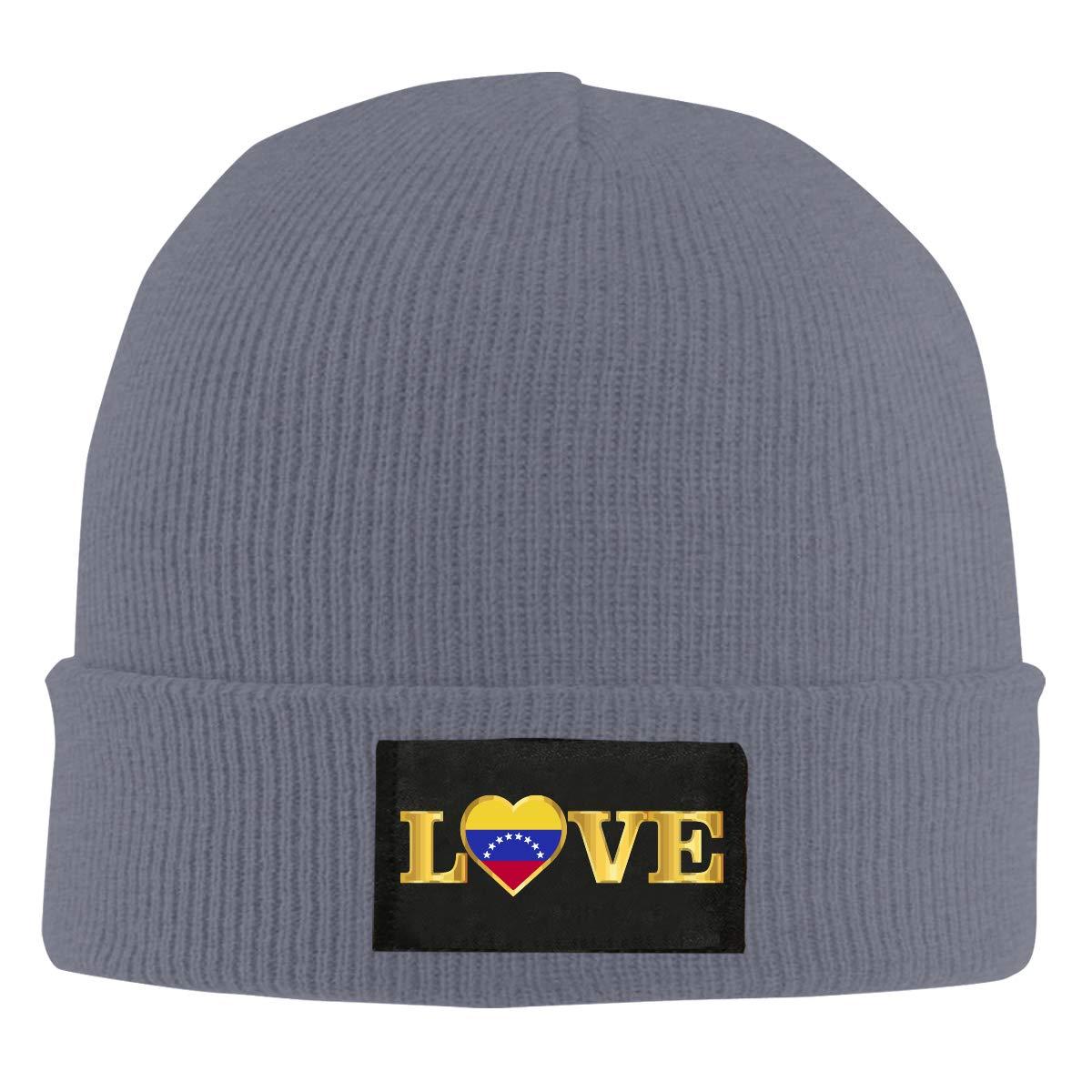 I Love Venezuela National Pride Unisex Winter Printed Warm Knitting Hats Skull Cap