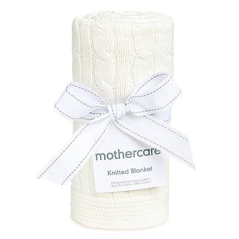 Mothercare crema 100% algodón de punto bebé manta para cochecito o Moisés cesta 75 cm