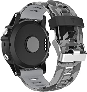 Compatible with Garmin Fenix 3 Watch Band/Fenix 5X Bands, Camouflage Silicone Replacement Bands Wristbands Strap Compatible with Garmin Fenix3/Fenix 3 HR/5X Plus/Descent Mk1