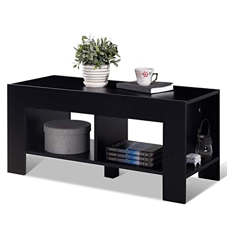 Tangkula Coffee Table, Tea Table with Storage Shelf, Sofa Table for Home Living Room Office Furniture, 2-Tier Coffee Table