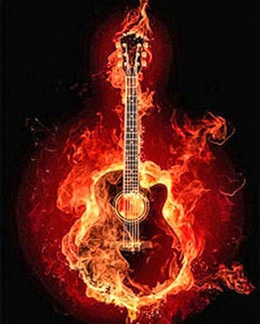 Pintura por Números Kits Guitarra flame DIY Pintura al Óleo Pintar ...