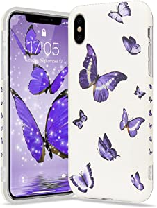 Urarssa Girls Case for iPhone Xr Case Cute Butterfly Pattern Design for Girls Women Shockproof Soft TPU Rubber Silicone Protective Case Cover for iPhone Xr, Purple