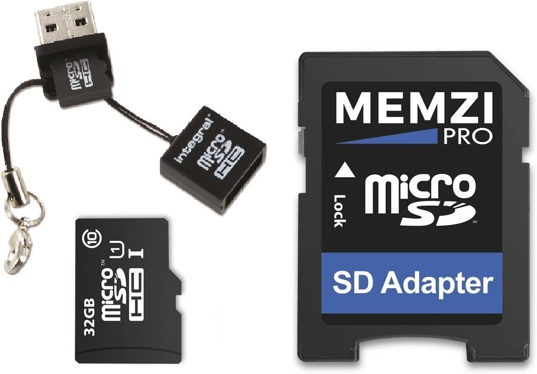 MEMZI PRO - Tarjeta de memoria micro SDHC (32 GB, clase 10, 90 MB/s, adaptador SD y lector micro USB) para Huawei MediaPad M5, M3, M2, T3 Series Tablet PC