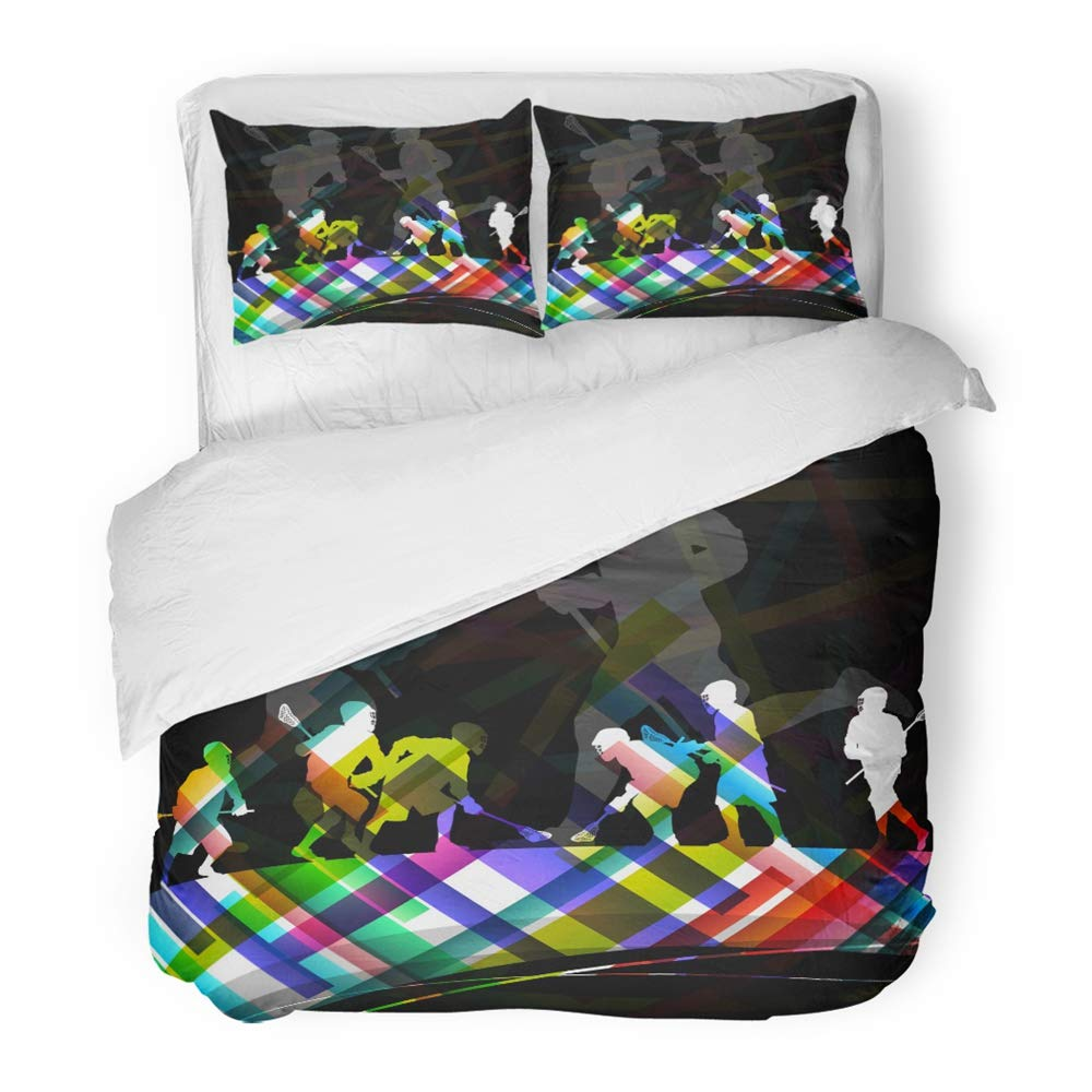 Emvency Bedding Duvet Cover Set Twin (1 Duvet Cover + 1 Pillowcase) Helmet Lacrosse Players Men Active Sport Silhouettes Abstract Color Action Activity Hotel Quality Wrinkle and Stain Resistant