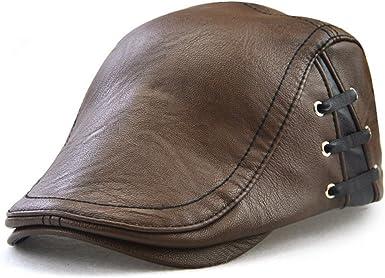 Roffatide Correas Cuero de PU Ajustable Plano Gorra Sombrero de Boina Golf Chapelas Otoño Invierno Marrón Claro: Amazon.es: Ropa y accesorios