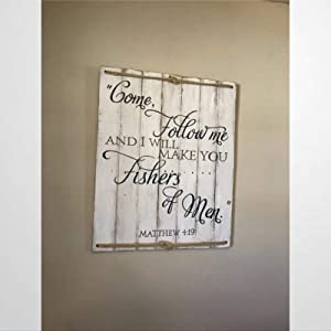 BYRON HOYLE Fishers of Men Nautical Wood Sign,Wooden Wall Hanging Art,Inspirational Farmhouse Wall Plaque,Rustic Home Decor for Living Room,Nursery,Bedroom,Porch,Gallery Wall