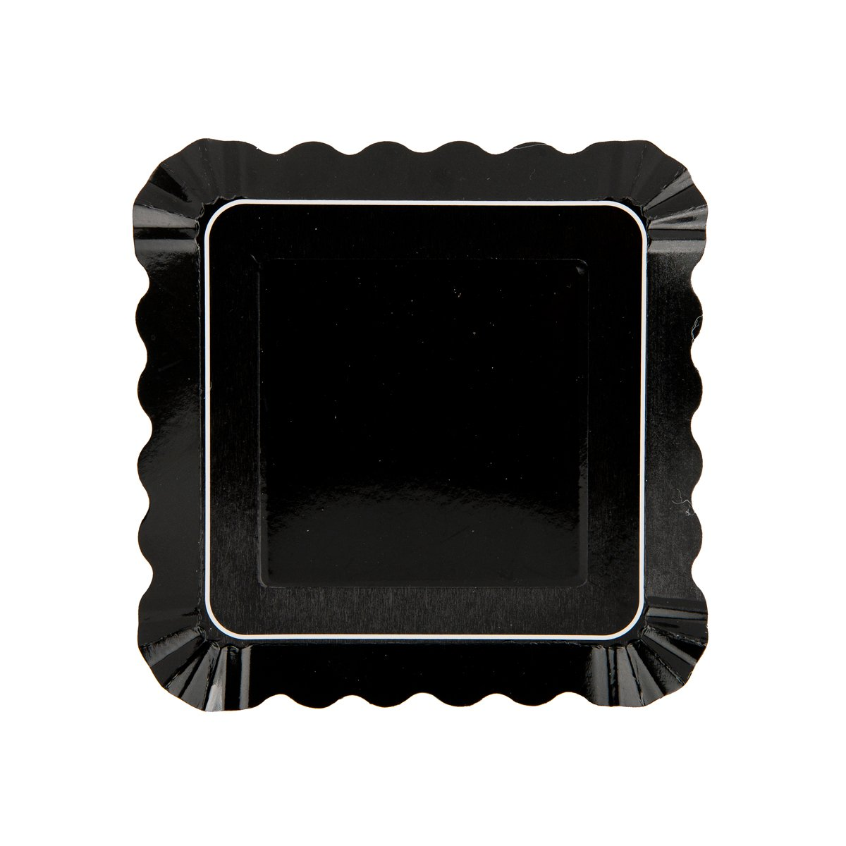 Simply Baked APL-105 5'' Large Paper Appetizer Plate (12 Pack), 5'' Square, Black Border