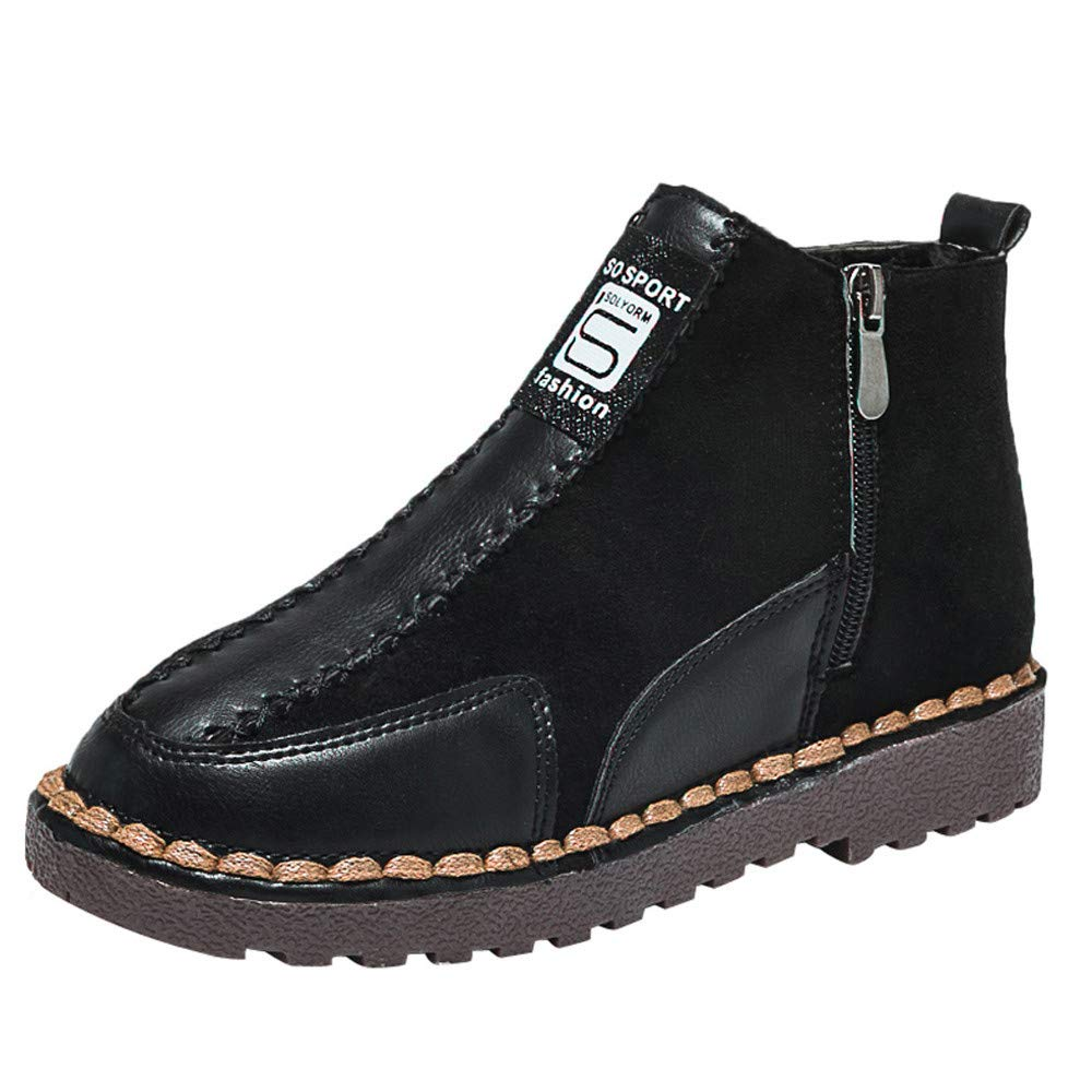 MYMYG Damen Ankle Boots Freizeitschuhe Frauen Flache Runde Kappe Wildleder Schuhe Bequeme Sohlen Reiß verschluss halten warme Schuhe Ü bergrö ß en Lace-Up Schuhe MYMYG-311058WOMEN
