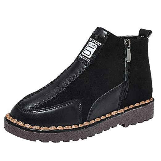 Hunzed Women Shoes Flat Bottom Round Stitching Clearance Suede Zipper Boots  Women s Shoes (Black 1692302c06