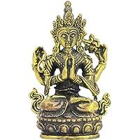 FITYLE Buddha Statue Hand-Painted Bronze Hindu Tribal God Meditation Statue