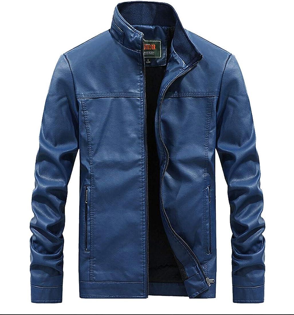 xiaohuoban Mens Retro Stand Collar PU Coat Winter Fashion Moto Faux Coat