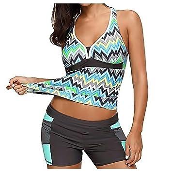 30cc4dfc291 Womens Tankini Swimwear - Inkach Striped Printed Bathing Suit Bottoms  Separates Set - Plus Size -