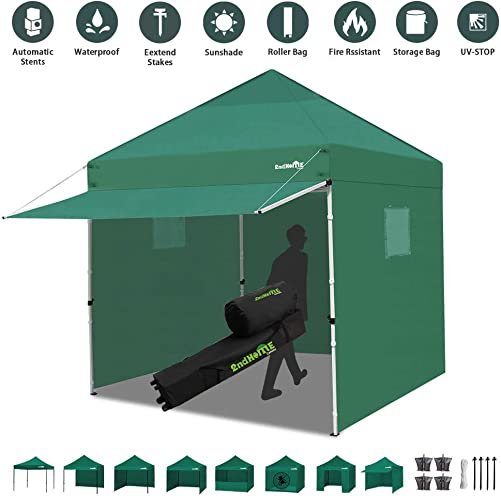 Canopy Tent 10 x 10 Heavy Duty Pop-up Instant Shelters Outdoor Commercial Portable Canopy Tent Market Canopies Sidewalls Weight Bags Roller Bag Net Wall Canopy Awning Storage Bag Canopy Green