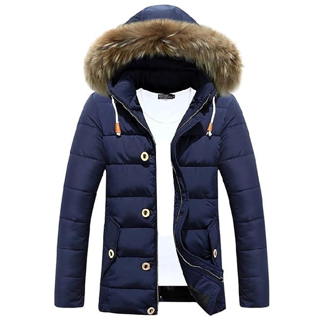 newb estyle Invierno Algodón Hombre (largas Chaqueta Acolchada con wattierungen Chaqueta con capucha calientes chaqueta